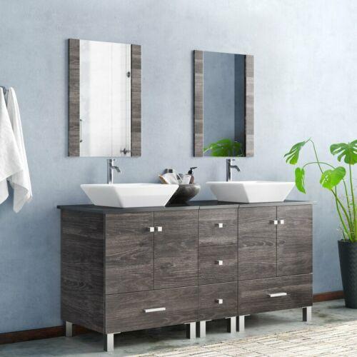 "60"" Bathroom Double Vanity Wood Cabinet White Ceramic Sink Combo w/Mirror Modern"