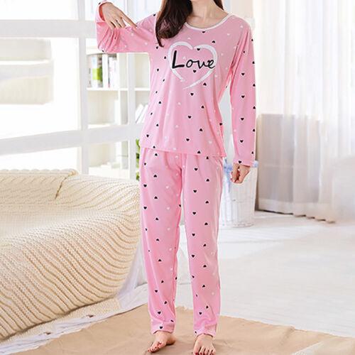 Women Sleepwear Pajamas Cartoon Long Sleeve Printing Home Su