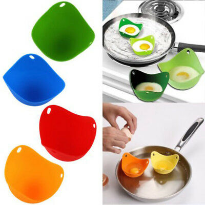 4pcs Silicone Egg Poacher Poaching Poach Cup Pods Mould Random Color for Cook