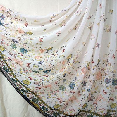 1M Flower Butterfly Print Semi-Sheer Chiffon Fabric Craft Sew Cloth Silky Summer