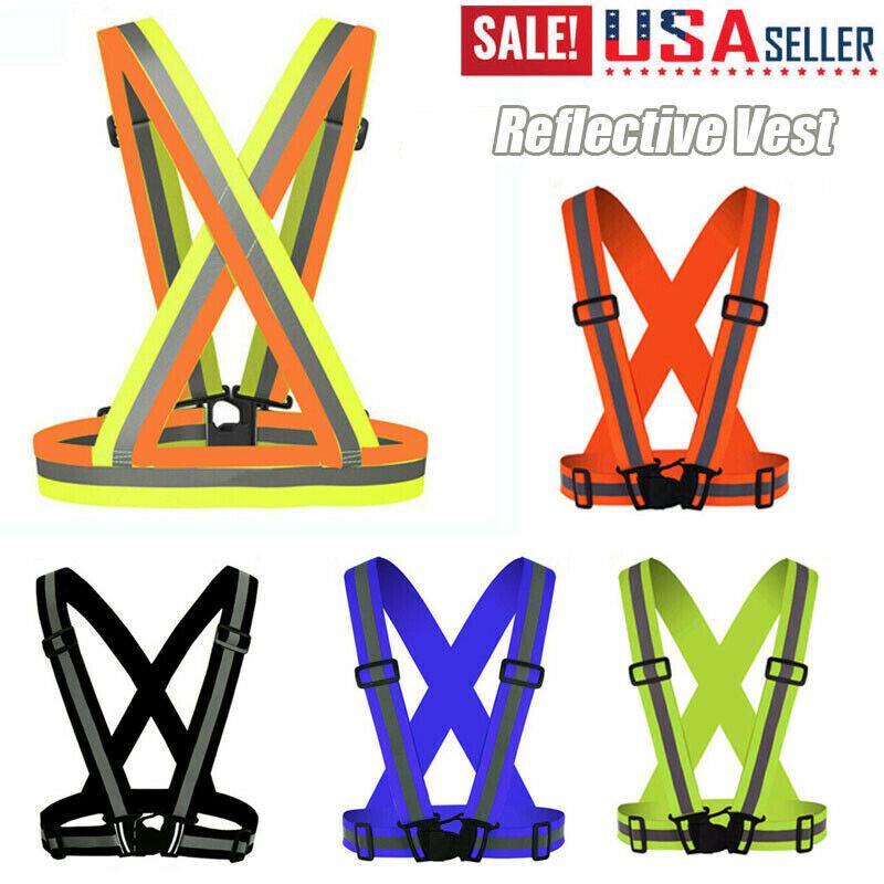 Adjustable Safety Reflective Vest Belt Stripe Strap Night Running Jogging Belt