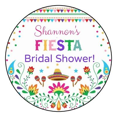 Bridal Shower Party (12 Fiesta Bridal Shower Stickers wedding anniversary cinco de mayo favors)