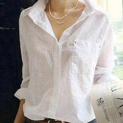 - Women's V Neck Long Sleeve White Shirt Blouse Lady Casual Cotton Linen Shirt Top