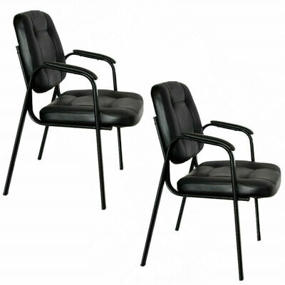 Set Of 2 Pu Leather Office Chair Conference Chair Guest Reception Chair Black Us