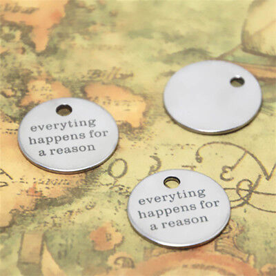 10Pcs Everything Happens For A Reason Silver Tone Message Charm Pendant 20Mm
