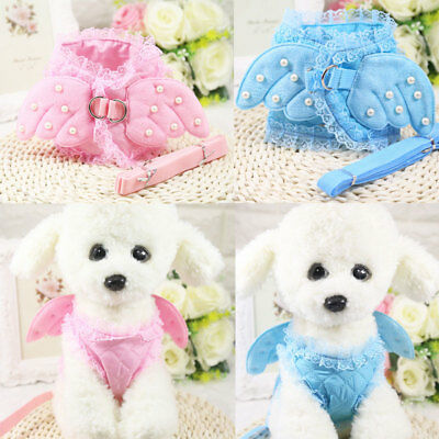 Pet Safety Walking Dog Costume Vest Harness & Lead Leash Angel Wings Lace - Angel Dog Costume