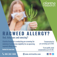 Participants for Upcoming Paid Ragweed Allergy Study