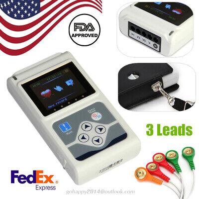 Usa Portable Dynamic Holter Ecg 3 Channel 12 Lead Ekg Analyzer System Fda Ce