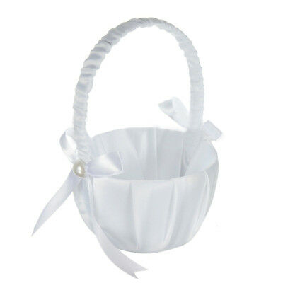 Romantic White Satin Bowknot PEARL Flower Girl Basket Wedding Ceremony Part F5U1 (White Flower Girl Basket)