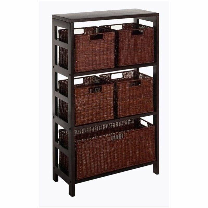Bowery Hill Storage Shelf with Baskets in Espresso