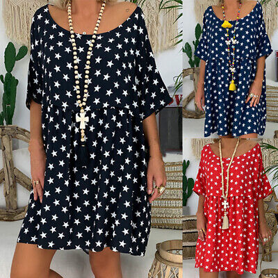 Plus Size Womens Baggy Casual Mini Dress Loose Summer Holiday Beach Dresses Tops