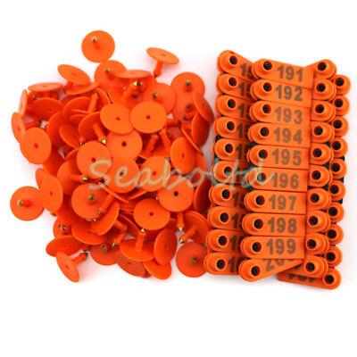 Orange 101-200 Number Plastic Livestock Ear Tag For Goat Sheep Pig Pack Of 100