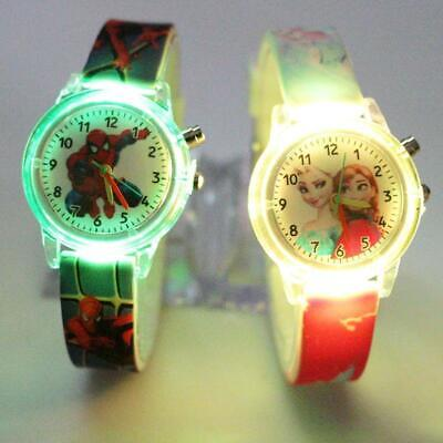 Princess Elsa Children Watches Spiderman Colorful Light Source Boys Watch Girls