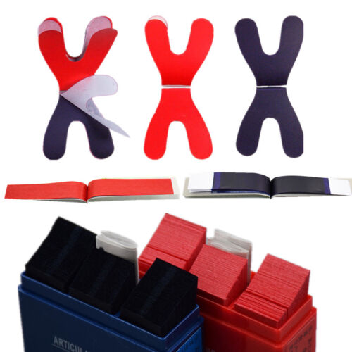 Dental Articulating Paper Horseshoe Rectangle Thick Strips Blue/Red For Denture