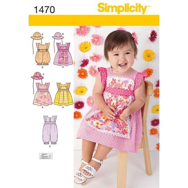 SIMPLICITY SEWING PATTERN BABIES DRESS ROMPER & HAT SIZES XXS - L   1470