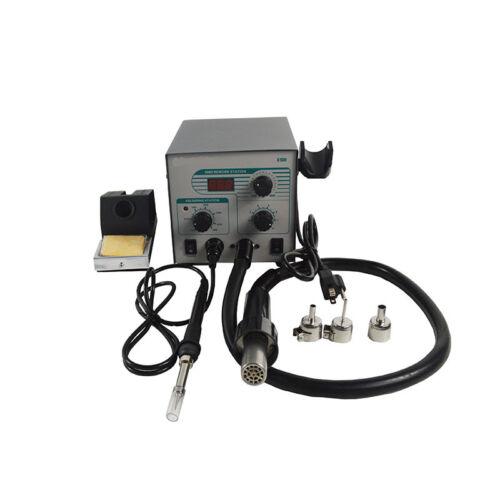 110V Digital SMD BGA Hot Air Gun + Soldering Iron Lead-free Rework Station New