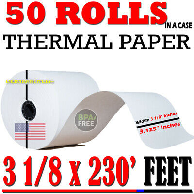 50 Pcs Rolls Pos Receipt Thermal Paper Printer Star Epson Ibm 3 18 80mm X 230