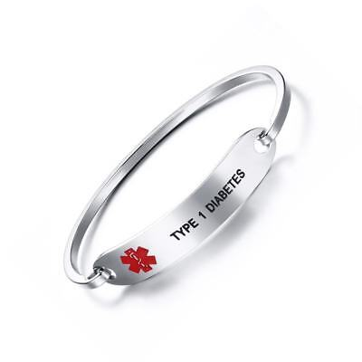Women Silver Engraved Medical Alert Bracelet Bangle Cuff Stainless Steel Jewelry