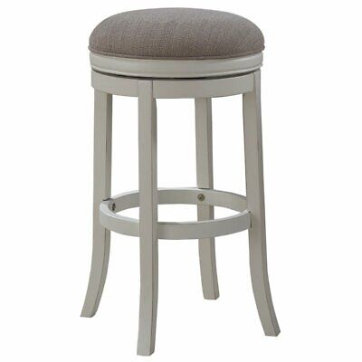 """Bowery Hill 34"""" Backless Tall Bar Stool in Distressed Antique White"""