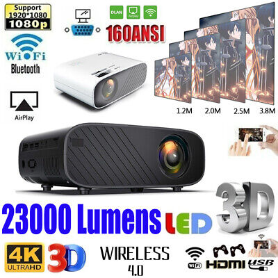 23000 Lumens 4K 1080P HD WiFi 3D LED Mini Video Theatre Projector Home Cinema