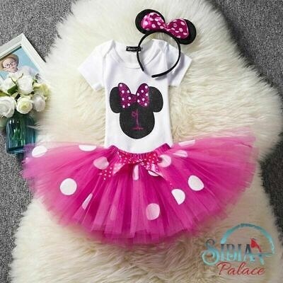 Baby Minnie Mouse Party Theme (Rose Pink Minnie Mouse Theme Cake Smash 1st Birthday Outfit Photo Shoot Dress)