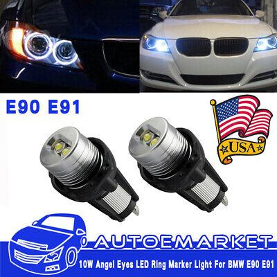 2x LED Angel Eye Halo Ring Marker Light Bulb 20W for BMW E90 E91 With Error Free - Led Light Rings