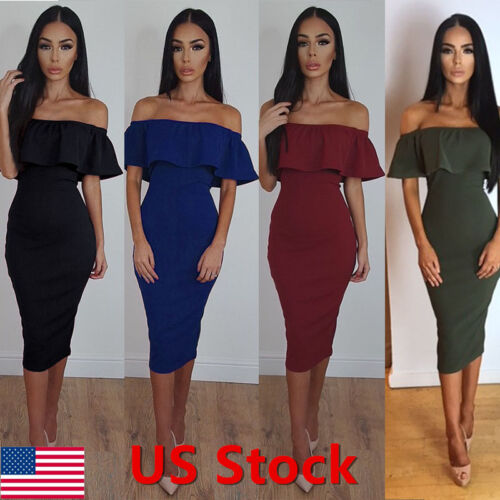 Dress - Fashion Women Off Shoulder Short Sleeve Bodycon Dress Evening Party Cocktail