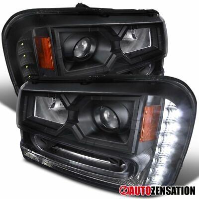 For 2002-2009 Chevy Trailblazer Black Clear Projector Headlights LED DRL Strip