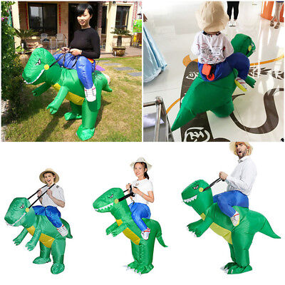 Halloween Inflatable Adult Green Dinosaur Party Costume Dino Rider Funny Dress - Dino Rider Costume