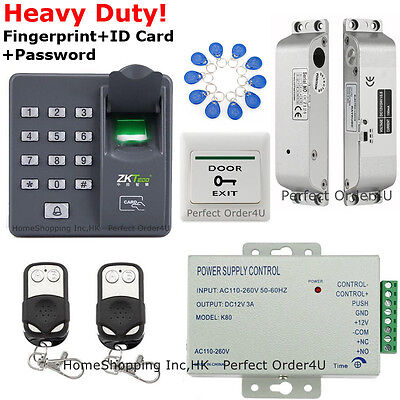 USA ZKTeco Fingerprint+RFID Press card Door Access Control System+Drop Bolt Lock TOP