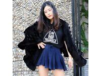 DAYMISFURRY -- Luxury Black Mink Fur Lady Triangle Shape Cape With PomPom