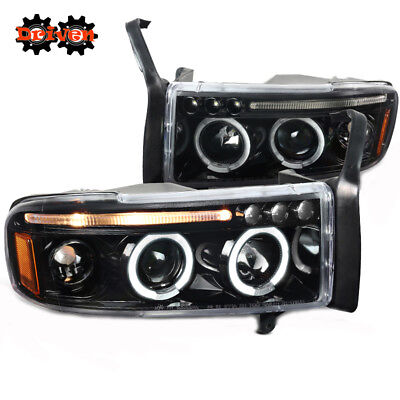 94-01 Dodge Ram 1PC Glossy Black Headlights w/Dual Halo LED DRL Projector Sport