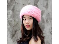 DAYMISFURRY-- Dyed Pink Mink Fur Elastic Headband