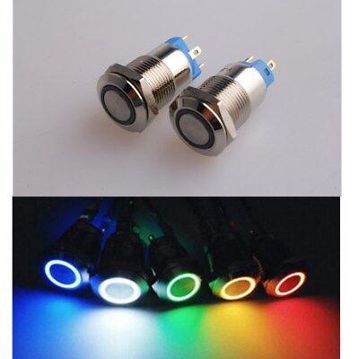 Us 12mm Latching 4 Terminal Led Light Metal Push Button Switch Waterproof 3v6v