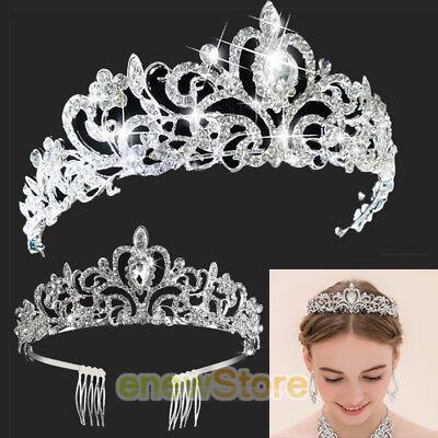 Rhinestone Kids Girl Crystal Tiara Hair Band Bridal Princess Prom Crown Headband - Tiara Head Band