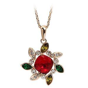 Swarovski Elements Crsystal Flower Pendant Necklace