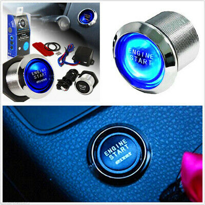 Universal For Car Engine Start Push Button Switch Ignition Starter Kit Blue LED