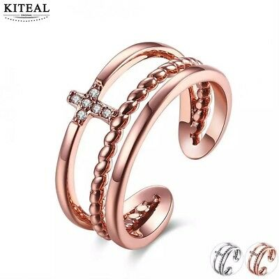 - sexy hotwife cuckold toe ring rose gold Australian crystal cross mid finger ring