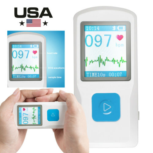PM10 Portable ECG EKG Machine Heart Beat Monitor,USB, Bluetooth,LCD Screen