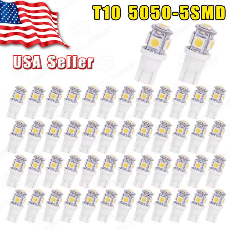 50 PCS Super White T10 Wedge 5-SMD 5050 LED Light bulbs W5W 2825 158 192 168 194