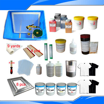 New 4 Colors Screen Printing Materials Kit Silk Screen Printing Accessories