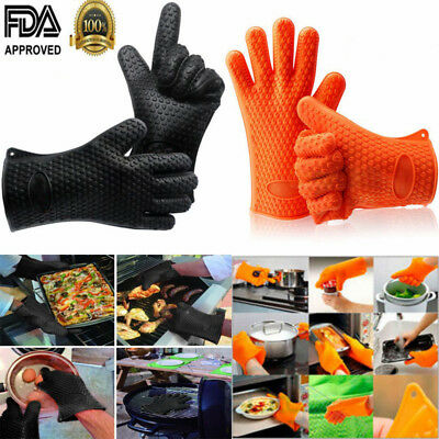 Set of 2 Silicone Heat Resistant BBQ Grill Gloves Oven Mitts & Pot Holder USA - Oven Glove Set