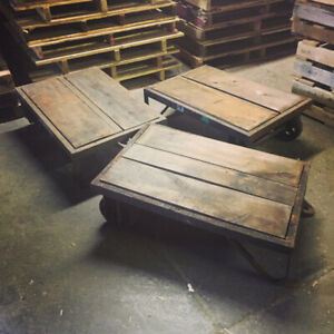 Old Industrial Cart Coffee Tables