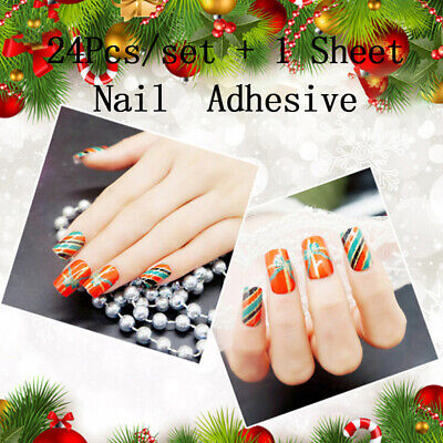 24X Christmas Nail Tip Artificial False Acrylic Design Fake French Nails Art KW ()
