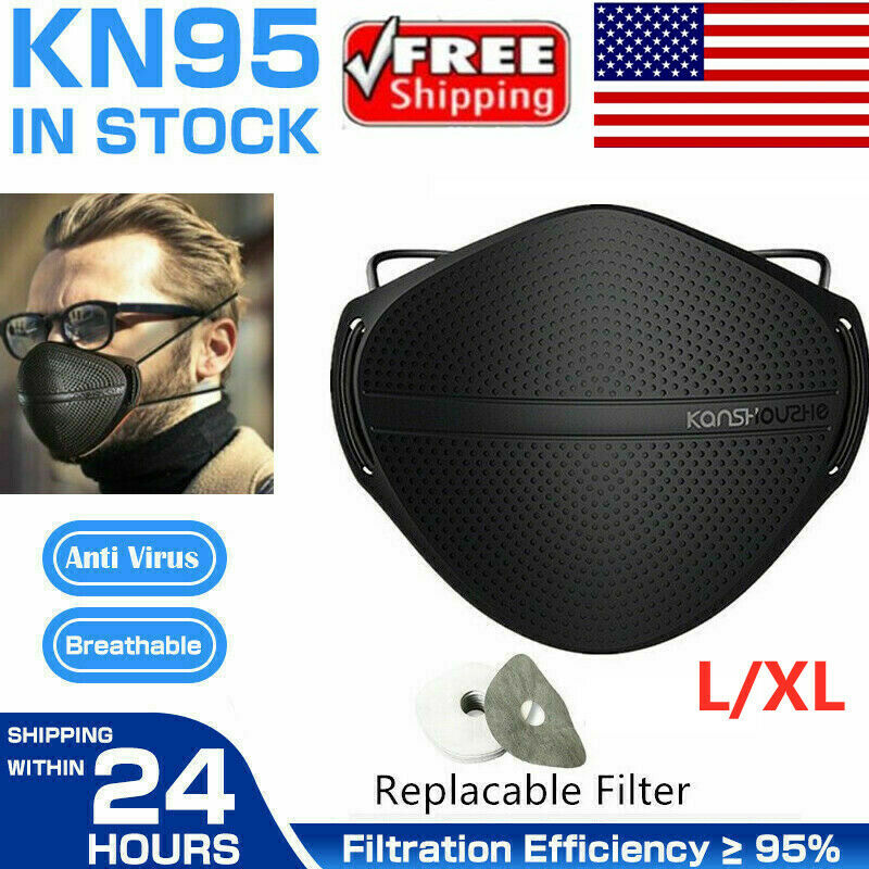 US Face Mask + Carbon Filter Mouth Nose Separate Anti Haze Fog Reusable Washable
