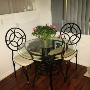 3-piece, glass top, kitchen bistro set with 2 chairs