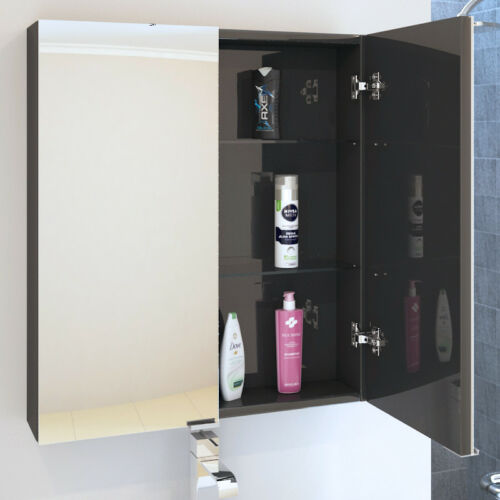 Detalles de Cuarto de baño aseo 600mm patello armario con espejo de pared  unidad Gris Con Estante De Vidrio- ver título original