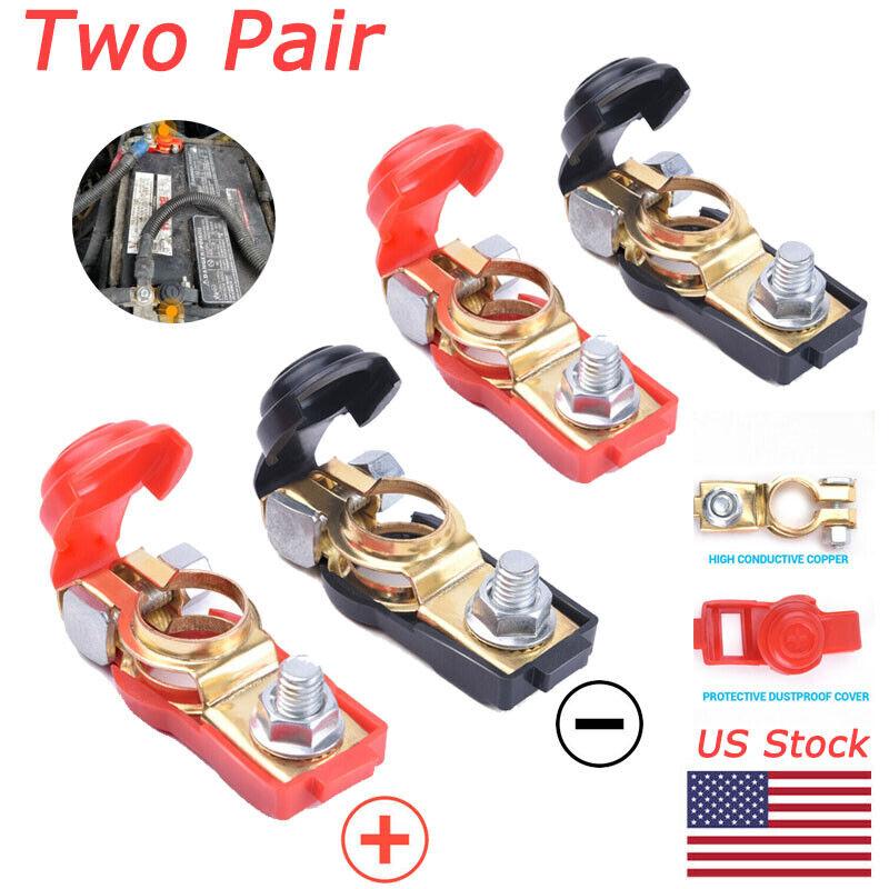 2 Pair Car Battery Terminal Connector Post Positive+Negative Poles Universal