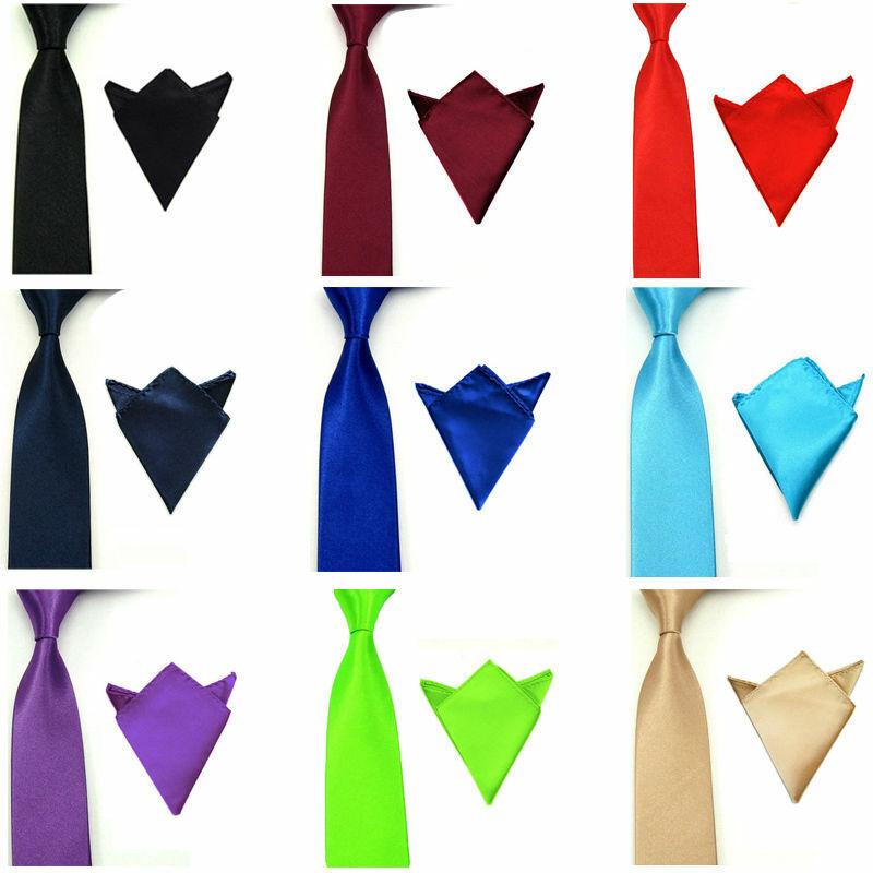 Men Satin Solid Color Necktie Tie Hanky Handkerchief Pocket Square Set