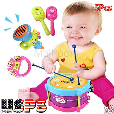 5pcs Educational Baby Kid Roll Drum Musical Instruments Band Kit Toy Gift Set US